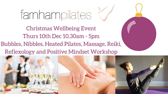 Christmas Wellbeing EventThurs 10th Dec 12 - 3.30pmBubbles, Nibbles, Heated Pilates, Massage and Positive Mindset Workshop (1)