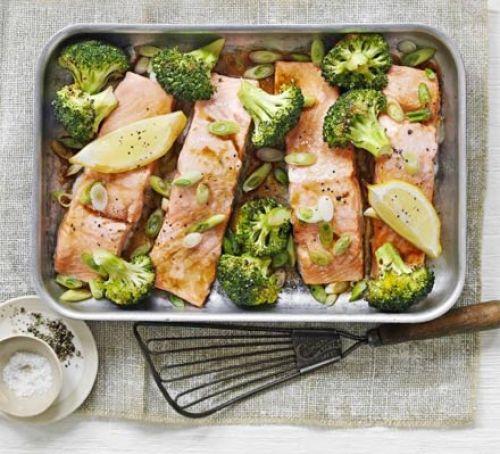 This week's healthy recipe – Oriental salmon and broccoli traybake